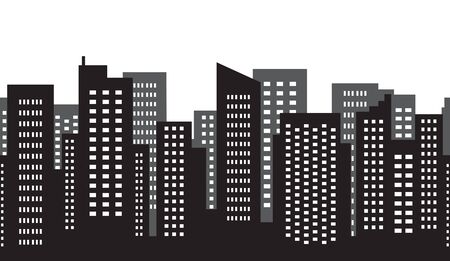 Seamless pattern of city vector megalopolis abstract. Silhouette of skyscraper. Vector illustration. Illustration