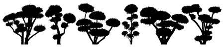 Garden bonsai niwaki. Decorative trees. Shrub vector silhouette set 向量圖像