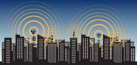 Radio tower 5G irradiate the city. Tower transmitter GSM. Vector illustration