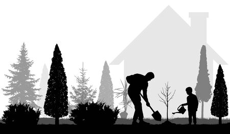 Father and son plant tree near the house in the garden silhouettes. Vector illustration 向量圖像