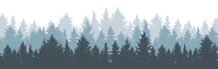 Coniferous winter forest background. Nature, landscape. Pine, spruce, christmas tree. Fog evergreen coniferous trees. Silhouette vector illustration