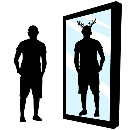 Deceived man, loser. Human stands in front of a mirror, sees in reflection that the horns have grown. Cheated the deer. Tolerant person. Silhouette vector illustration Ilustração