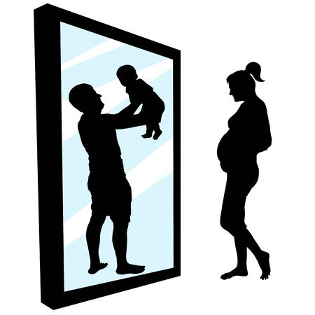 Pregnant woman is standing in front of a mirror. Girl sees in reflection a happy father with a baby in her hands. Family planning, having a baby. Silhouette vector illustration