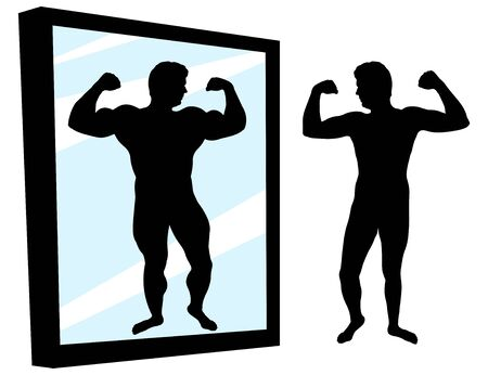 Strong and weak person. Protein result. Man stands in front of a mirror with high self-esteem. Muscled, bodybuilder, jock. Desired or achieved result. Silhouette vector illustration