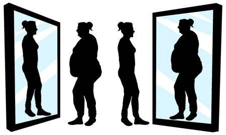 Woman stands in front of a mirror and sees a reflection. Fat and thin girl. Inferiority complex. Thick and thin. Silhouette vector illustration