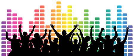 Multitud de gente divertida. Juventud alegre. Fiesta, festival, discoteca, baile. Música de ecualizador, fondo. Ilustración vectorial
