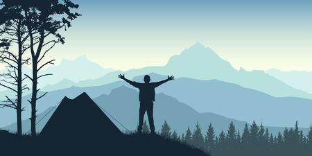 Le voyageur se tient près d'une tente au lever du soleil. Sur fond de montagnes et de forêts. Illustration vectorielle de silhouette Vecteurs
