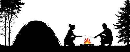Young people camping in nature near the tent. Man and woman are frying marshmallows at the stake. Trekking in the forest. Silhouette vector illustration
