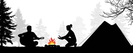 Camping in the forest with a tent. Young couple by the fire. Man plays the guitar. Girl warms his hands by the fire. Romantic evening. Silhouette vector illustration