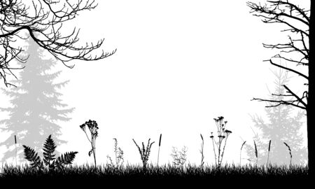 Field, silhouettes of wild weeds and trees. Vector illustration. 向量圖像