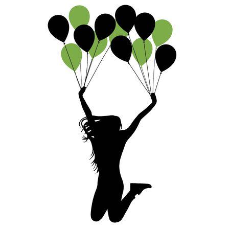 Cheerful girl hanging on balloons. Silhouette vector illustration 向量圖像