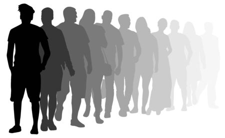 Crowd of people stand in line. People queue for casting. Silhouette vector illustration