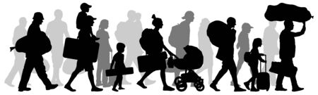 Crowd people immigrant. Silhouette vector illustration