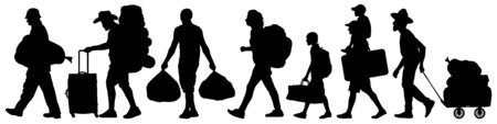 Crowd people migration. Resettlement of refugees. Man walks with a bag and a suitcase. Silhouette vector illustration Foto de archivo - 142115460