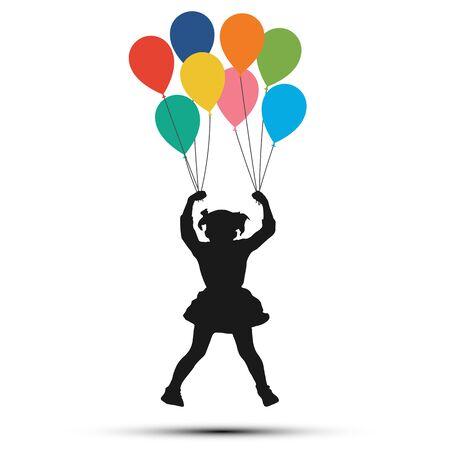 Girl hanging on balloons. Silhouette vector illustration