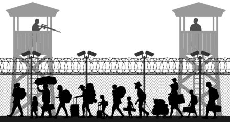Group of walking refugees. Crowd migration. People behind barbed wire. State border checkpoint. Silhouette vector illustration