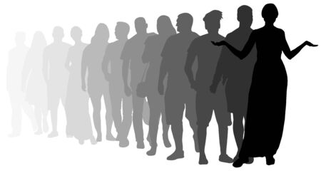 Indignant of people stand in line. Angry crowd of people. Silhouette vector illustration