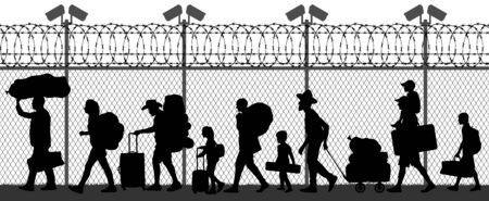 Migration of people across the border near the fence with cameras. Seamless silhouette vector illustration