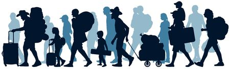 Moving people. Crowd human emigration. Silhouette vector illustration Иллюстрация