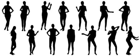 Dancing woman in full growth, set of silhouettes. Vector illustration.