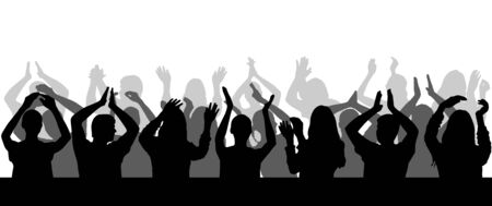 Silhouette of applauding crowd close-up. Vector illustration.