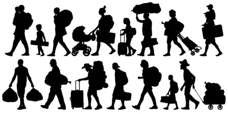 Silhouette people with bags and suitcases. Person with backpack. Isolated set of vector illustration Иллюстрация