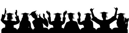 Happy University graduate clapping palms of hand, joy, cheerful, silhouettes close-up. Vector illustration. Vecteurs