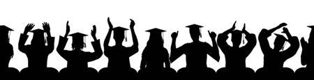 Seamless pattern of applauding graduates. Vector illustration.