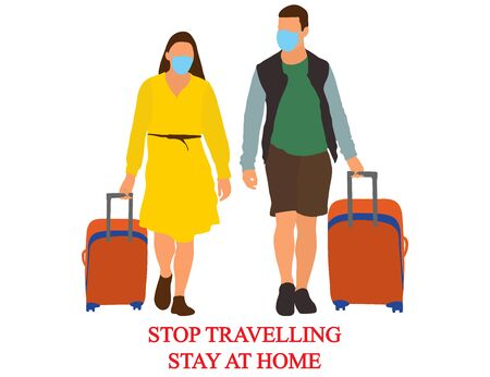 Tourists with baggages, stop travelling, stay at home because of coronavirus. Vector illustration.