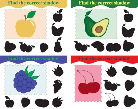 Education for kids. Find silhouettes of apple, avocado, blackberry and cherry, set of games. Vector illustration.