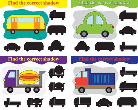 Find shadow of different transport, set of educational games for kids. Vector illustration.