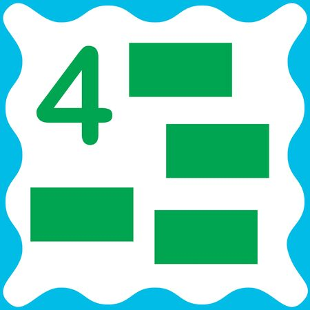 Card number 4 (four) and rectangle. Learning numbers and geometric shapes, mathematics. Game for children. Vector illustration.