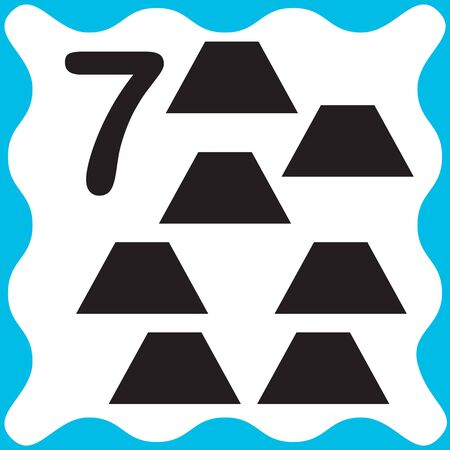 Card number 7 (seven) and trapeze. Learning numbers and geometric shapes, mathematics. Game for children. Vector illustration.