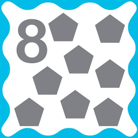 Card number 8 (eight) and pentagon. Learning numbers and geometric shapes, mathematics. Game for children. Vector illustration. Ilustração