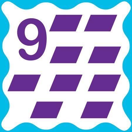 Card number 9 (nine) and parallelogram. Learning numbers and geometric shapes, mathematics. Game for children. Vector illustration. Ilustração