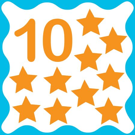 Card number 10 (ten) and star. Learning numbers and geometric shapes, mathematics. Game for children. Vector illustration.
