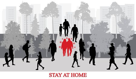 Infected people by coronavirus (COVID-19) walking among healthy people in park. Stay at home to be healthy. Vector illustration.