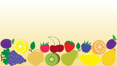 Background with different drawing fruits and berries, vector illustration