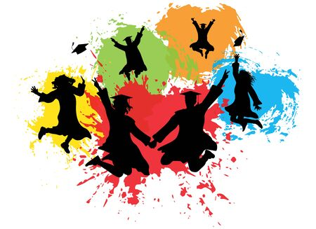 Silhouettes of jumping graduates in square academic caps and mantles on background of colorful splashes. Vector illustration Ilustração