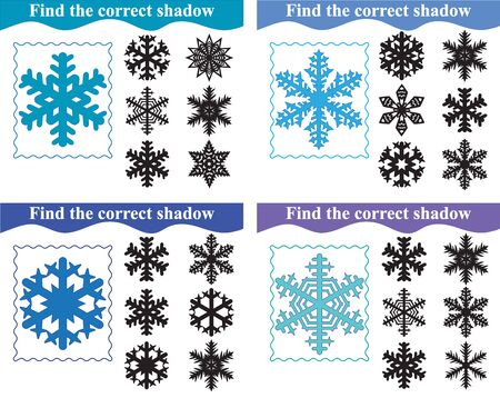 Education for preschool children. Find the correct shadow of snowflakes, set of educational game for kids. Vector illustration.