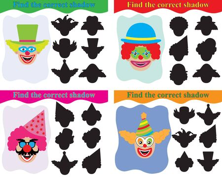 Education for children. Find the correct shadow of clowns, set of educational game for kids. Vector illustration.