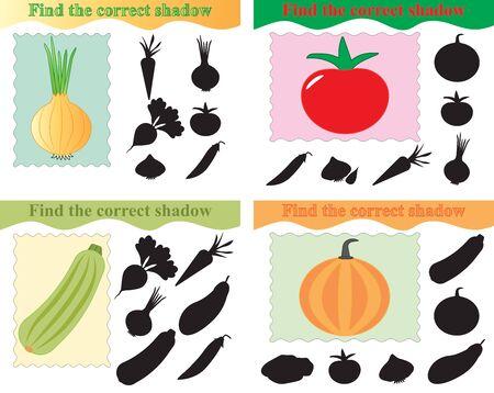 Set of educational game for kids, find the correct shadow of vegetables. Vector illustration. Ilustração