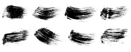 Set of brush strokes ink, black paint. Vector illustration