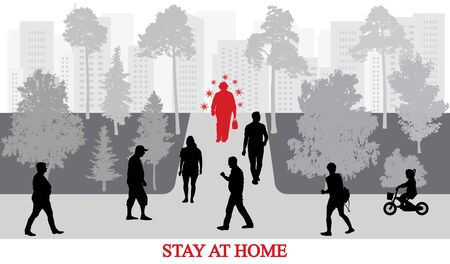 COVID-19 in city. Stay at home. Infected people by coronavirus walking among healthy people in park. Vector illustration.
