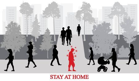 Coronavirus (COVID-19) preventive measures, stay at home. Infected people by coronavirus walking among healthy people in park. Vector illustration.