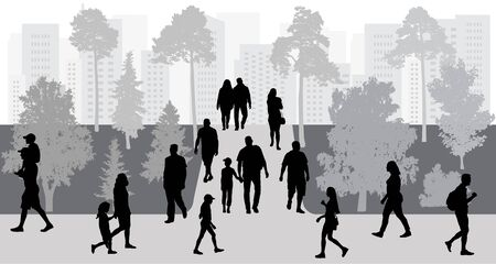 City life. People walking in park, silhouettes. Vector illustration.