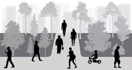 People in move in park, urban life, silhouettes. Vector illustration. Ilustração