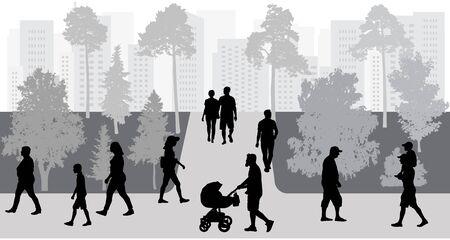 Silhouettes of crowd of people walking in park. Vector illustration. Ilustração