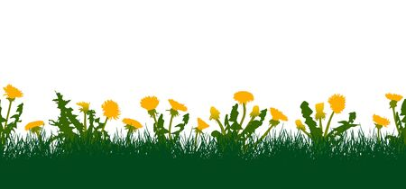 Seamless pattern of grassland from grass and yellow dandelions. Vector illustration Ilustracja