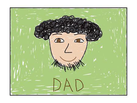 Painted kids drawing, portrait of father. Vector illustration. Ilustração